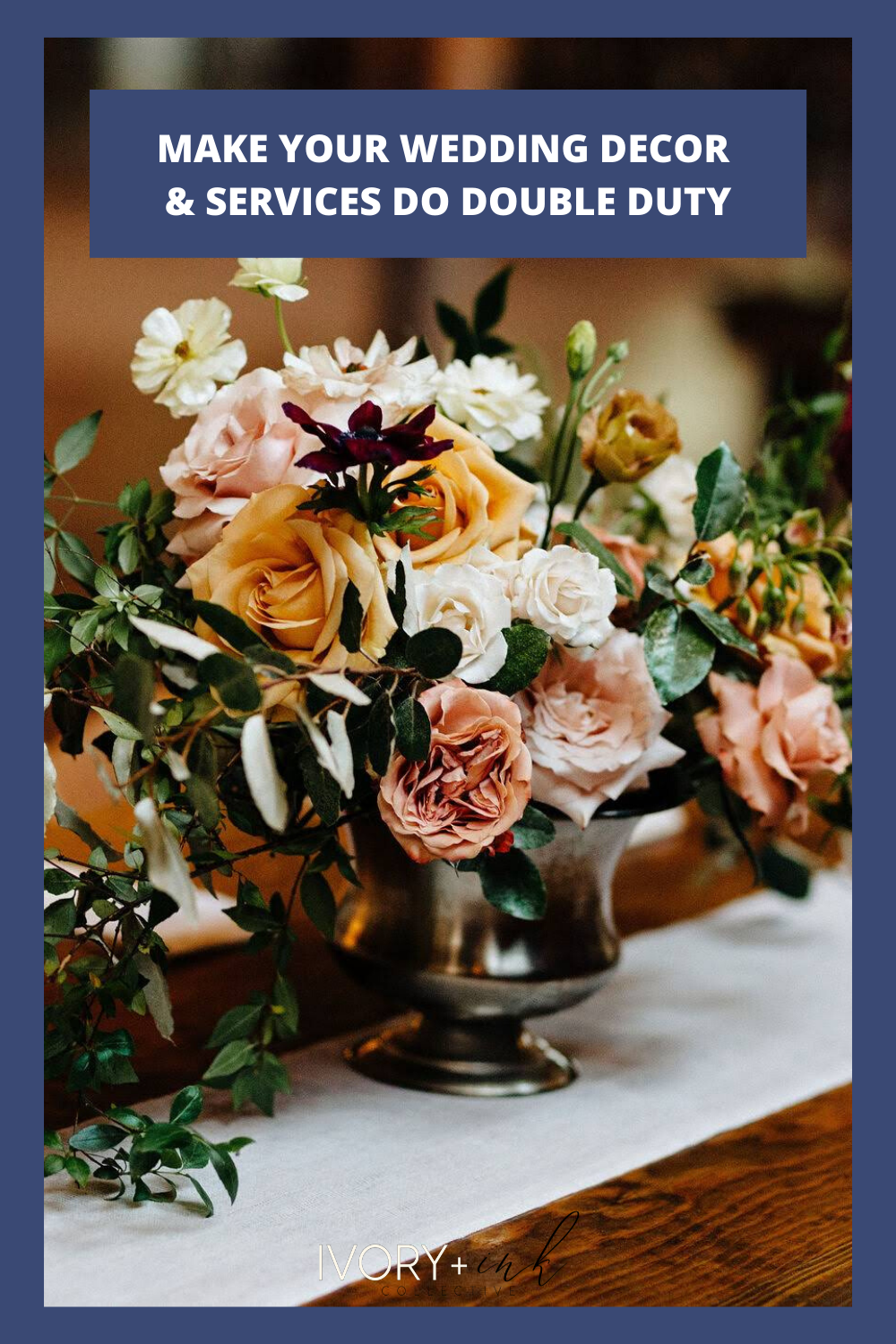 A great wedding budget tip is to make your decor & other hired services do double duty! originally published on ivoryandink.com
